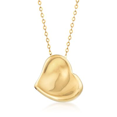 Italian 14kt Yellow Gold Heart Necklace, , default