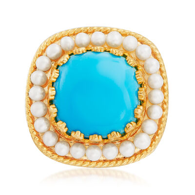 Turquoise with 2mm Cultured Pearl Ring in 18kt Gold Over Sterling