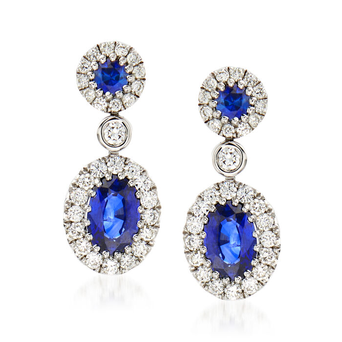 Gregg Ruth 1.29 ct. t.w. Sapphire and .47 ct. t.w. Diamond Earrings in 18kt White Gold