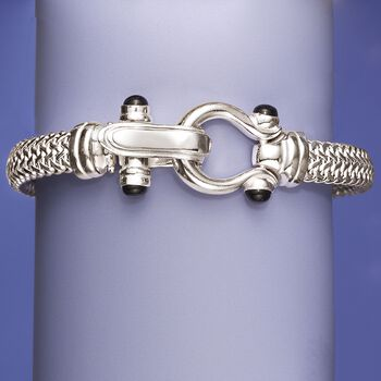 Italian Sterling Silver Horsebit Bracelet with Black Onyx, , default