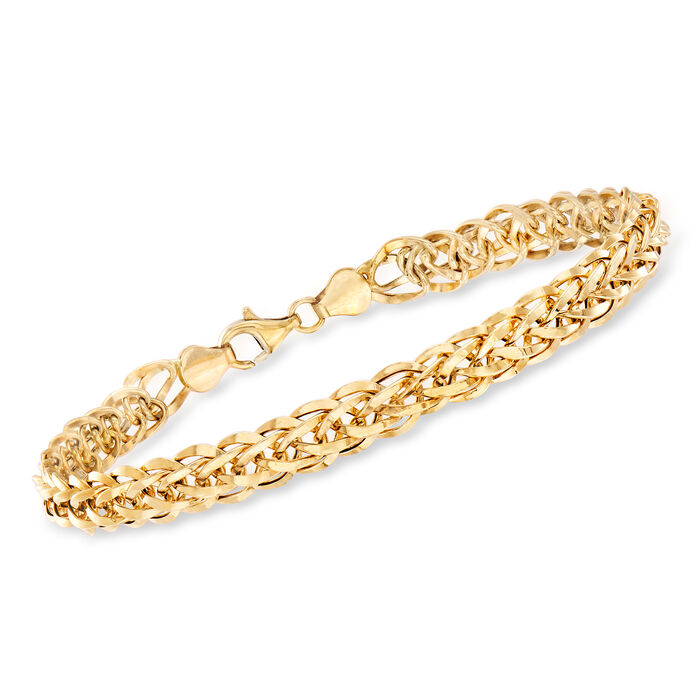 14kt Yellow Gold Wheat-Link Bracelet, , default