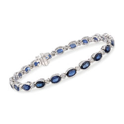 10.00 ct. t.w. Sapphire and .57 ct. t.w. Diamond Bracelet in 14kt White Gold, , default