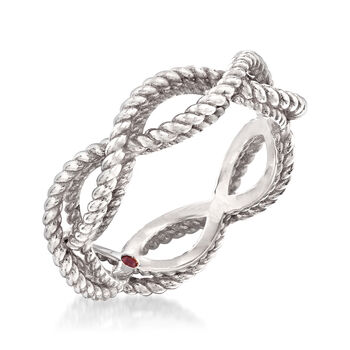 """Roberto Coin """"Barocco"""" Roped Ring in 18kt White Gold. Size 6.5"""
