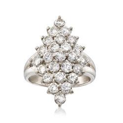 C. 1980 Vintage 2.12 ct. t.w. Diamond Cluster Ring in Platinum, , default