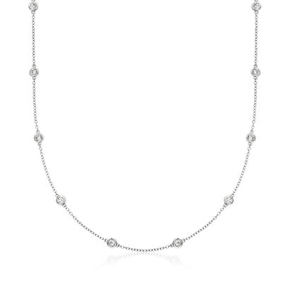 1.00 ct. t.w. Bezel-Set Diamond Station Necklace in 18kt White Gold, , default