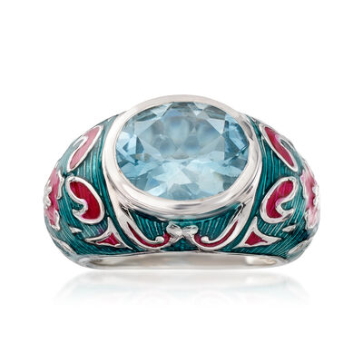 4.50 Carat Sky Blue Topaz and Multicolored Enamel Ring in Sterling Silver