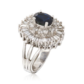 C. 1970 Vintage 1.25 Carat Sapphire and 1.70 ct. t.w. Diamond Cluster Ring in 14kt White Gold. Size 6, , default