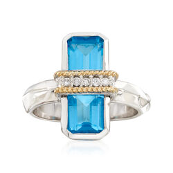 """Andrea Candela """"Ilusion"""" 3.80 ct. t.w. Blue Topaz and Diamond Ring in 18kt Gold and Sterling, , default"""