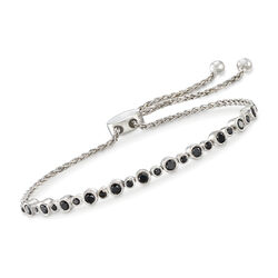 1.00 ct. t.w. Bezel-Set Black Diamond Bolo Bracelet in Sterling Silver, , default