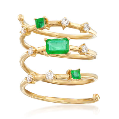 .50 ct. t.w. Emerald and .24 ct. t.w. Diamond Spiral Ring in 18kt Yellow Gold, , default