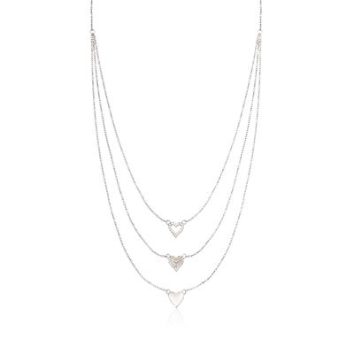 .25 ct. t.w. CZ Layered Heart Necklace in Sterling Silver, , default