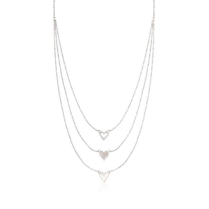 .25 ct. t.w. CZ Layered Heart Necklace in Sterling Silver