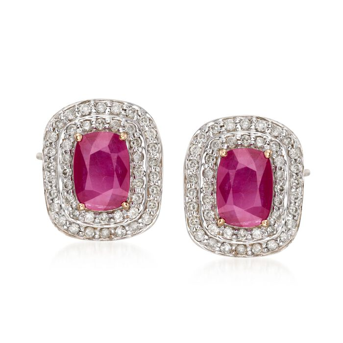 2.10 ct. t.w. Ruby and .48 ct. t.w. Diamond Earrings in 14kt Yellow Gold , , default