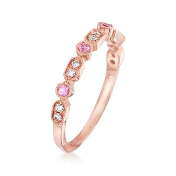 Henri Daussi 14kt Rose Gold Wedding Ring with Diamond and Pink Sapphire Accents
