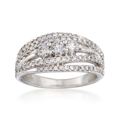 1.00 ct. t.w. Diamond Multi-Row Ring in 14kt White Gold