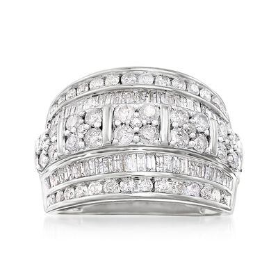 Diamond Jewelry. Image Featuring Round and Baguette Diamond Multi-Row Ring in Sterling Silver # 896768