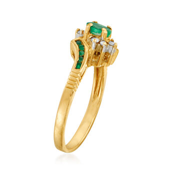 C. 1980 Vintage .45 ct. t.w. Emerald and .10 ct. t.w. Diamond Ring in 14kt Yellow Gold. Size 6.25, , default