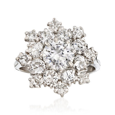 C. 1980 Vintage 3.15 ct. t.w. Diamond Snowflake Ring in 14kt White Gold, , default