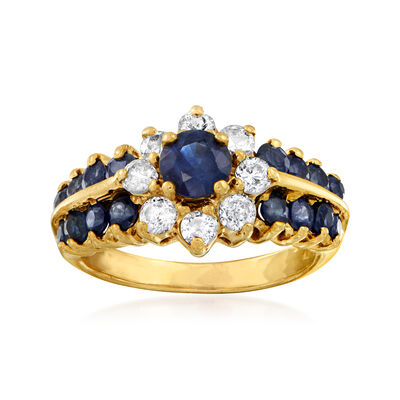 C. 1980 Vintage 1.30 ct. t.w. Sapphire and .55 ct. t.w. Diamond Flower Ring in 14kt Yellow Gold, , default