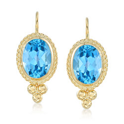1.60 ct. t.w. Blue Topaz Rope Edge Earrings in 14kt Yellow Gold, , default