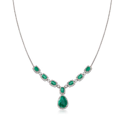 10.20 ct. t.w. Emerald and 1.00 ct. t.w. White Topaz Necklace in Sterling Silver, , default