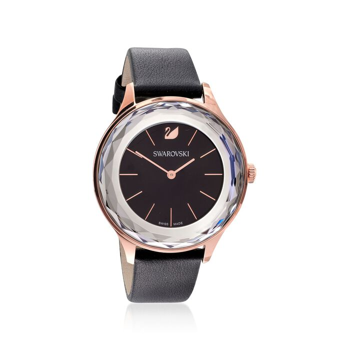 Swarovski Crystal Octea Nova Women's Rose Goldtone Stainless Watch with Black Crystal and Leather, , default