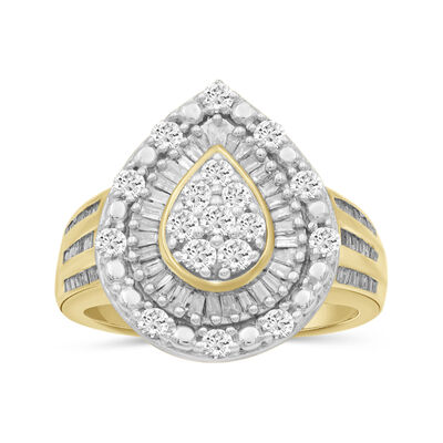 1.01 ct. t.w. Baguette and Round Diamond Teardrop Ring in 18kt Gold Over Sterling, , default