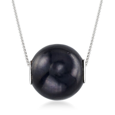 10-10.5mm Black Cultured Pearl Pendant Necklace in Sterling Silver