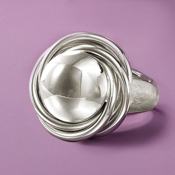 Italian Sterling Silver Big Bead Knot Ring