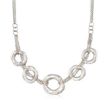 Italian Sterling Silver Multi-Strand Five Open Circle Necklace