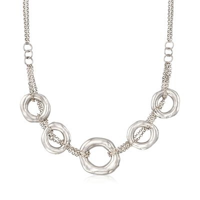 Italian Sterling Silver Multi-Strand Five Open Circle Necklace