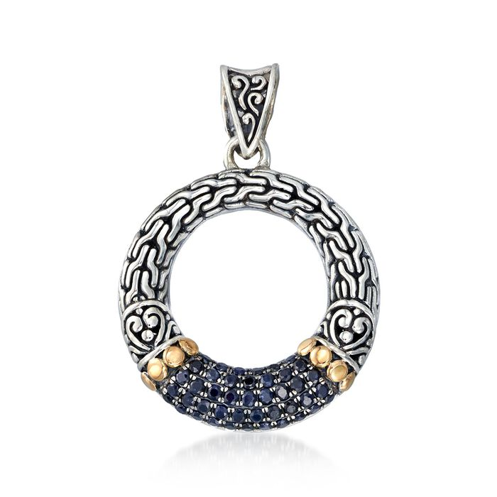 .70 ct. t.w. Sapphire Bali-Style Open Circle Pendant in Two-Tone Sterling Silver, , default