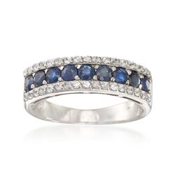 1.00 ct. t.w. Sapphire and .30 ct. t.w. White Zircon Ring in Sterling Silver, , default