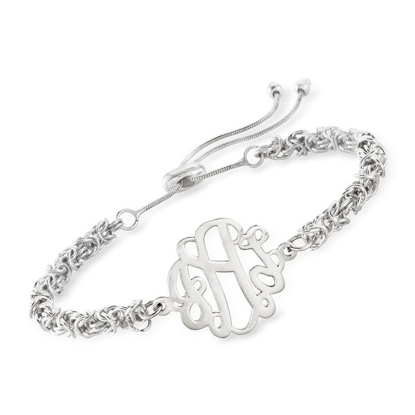 Sterling Silver Byzantine Monogram Bolo Bracelet. #893589