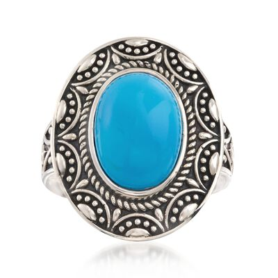 14x10mm Turquoise Vintage-Style Ring in Sterling Silver, , default