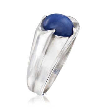 C. 1970 Vintage Men's Synthetic Sapphire Ring in 14kt White Gold. Size 7.5