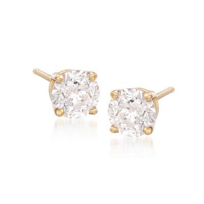 2.00 ct. t.w. CZ Stud Earrings in 14kt Yellow Gold