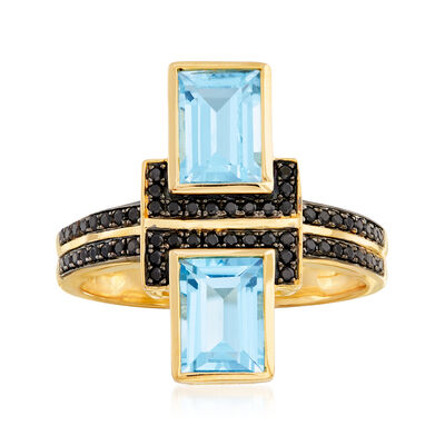 2.20 ct. t.w. Swiss Blue Topaz and .10 ct. t.w. Black Spinel Ring in 18kt Gold Over Sterling, , default