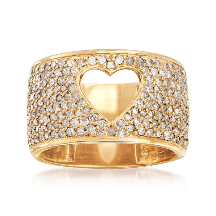 1.00 ct. t.w. Diamond Open-Space Heart Ring in 18kt Gold Over Sterling, , default