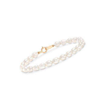 """Child's 4-4.5mm Cultured Pearl Bracelet With 14kt Yellow Gold. 5.5"""", , default"""