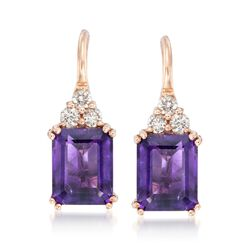 6.25 ct. t.w. Amethyst and .38 ct. t.w. Diamond Earrings in 14kt Rose Gold, , default