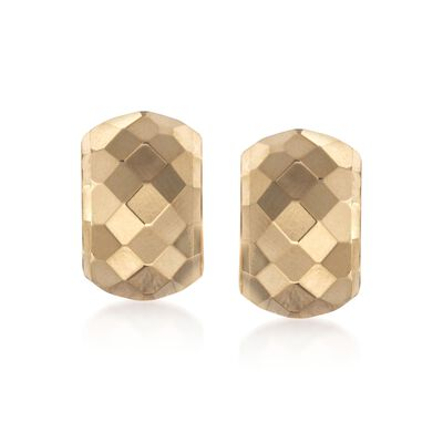 14kt Yellow Gold Diamond-Cut Half-Hoop Earrings, , default