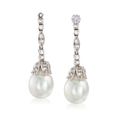 C. 1980 Vintage Cultured Baroque Pearl and .50 ct. t.w. Diamond Drop Earring Jackets in Sterling Silver and Palladium, , default