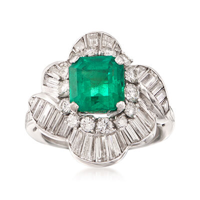 C. 1990 Vintage 2.20 Carat  Emerald and 2.50 ct. t.w. Diamond Ballerina Ring in Platinum , , default