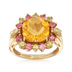C. 1990 Vintage 3.00 Carat Citrine and .90 ct. t.w. Pink Tourmaline and Peridot Ring in 10kt Yellow Gold, , default