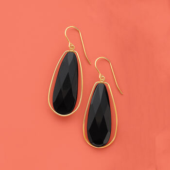 Black Onyx Dangle Earrings in 14kt Yellow Gold, , default