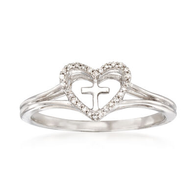 Sterling Silver Heart and Cross Ring with Diamond Accents, , default