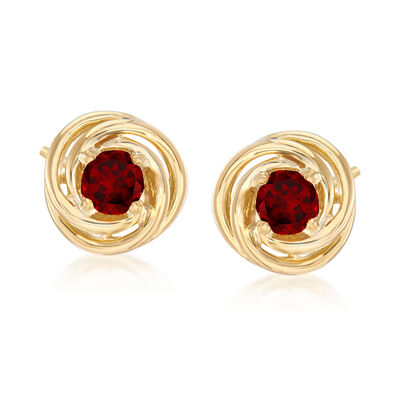 1.00 ct. t.w. Garnet Love Knot Earrings in 18kt Gold Over Sterling Silver, , default