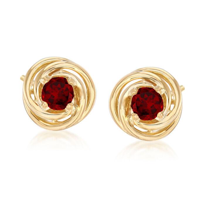 1.00 ct. t.w. Garnet Love Knot Earrings in 18kt Gold Over Sterling Silver