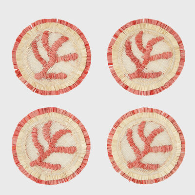 Joanna Buchanan Set of 4 Straw Coral Coasters, , default